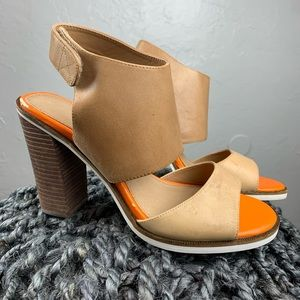 Aldo color block leather wood heels sz 9